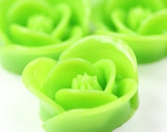 Icing Rose Flower Cabochon Plastic 17mm Green (6) PC213 SALE 40% OFF