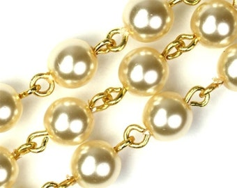Bead Chain Glass Pearls and Gold Round 6mm - Creme (1 Foot) CH76