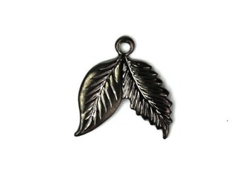 Double Leaf Stamping Charms Small Gunmetal (6) CP093