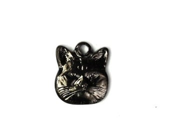Tiny Cat Stampings Charms 9x8mm Gunmetal Kitten Pendant (6) CP099