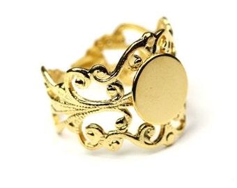"Ornate Filigree Ring Blank 3/8"" Blank Pad Gold Plated (1) FI509"