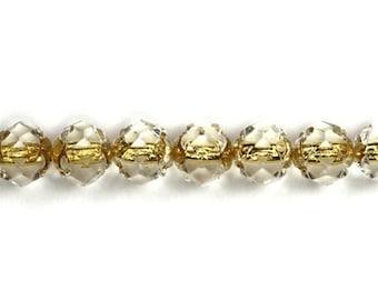 Czech Glass Beads Fire Polished Rosebuds 5x6mm Crystal Gold Lined (25) CZF333