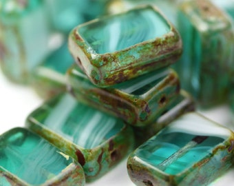 Czech Glass Beads Polished Rectangles 8x12mm Teal / White Picasso (10) CZM033
