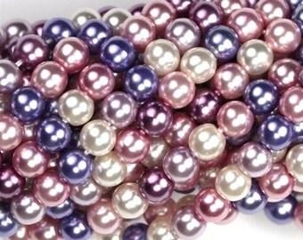 Czech Glass Beads 4mm Pearl Coat Purple Haze Mix (50) CZM039