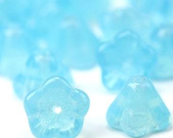 Czech Glass Beads Bell Flowers 8x6mm Milky Aquamarine (25) CZP454