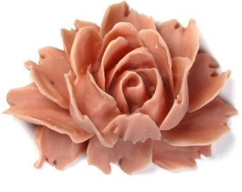 Plastic Flower Cabochons Rose Large Matte Vintage Rose 43x32mm (10) PC256BULK  WHOLESALE BULK
