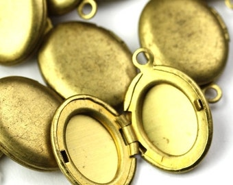 Vintage Raw Brass Lockets - Oval Plain Small (4) BLO05