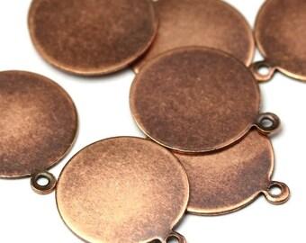 Blank Circle Tab Charms Medium Copper Ox Pendant Glue On Bail (4) SALE 40% OFF CP128