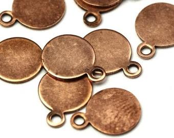 Blank Circle Tab Charms Small Copper Ox Glue On Bail Flat Blank (6) CP131