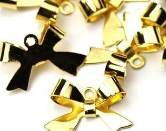 Charms Bow Knot Gold Tone Cute Ribbon Pendant 15mm (8) CP132