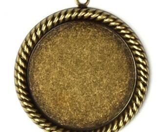 Settings 25mm Rope Edge Top Loop Brass Ox Cabochon Bezel (2) FI422