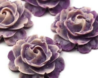 Plastic Flower Cabochons Matte Dark Purple and White 23mm (2) PC280