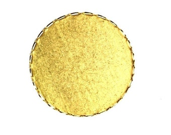 Cameo or Cabochon Settings Raw Brass Round Lace Edge 31mm (4) FI588