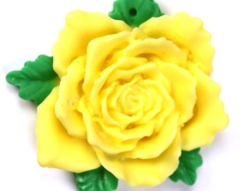 Resin Flower Cabochons 40mm Yellow and Green (2) PC293