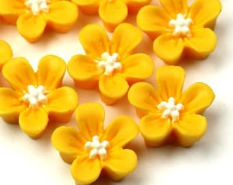 Plastic Flower Cabochons 14mm Matte Yellow and White (6) PC309