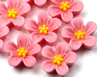 Plastic Flower Cabochons 14mm Matte Pink and Yellow (6) PC310
