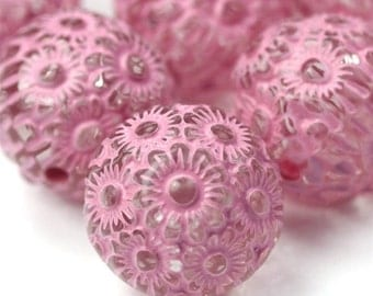 Plastic Beads 12mm Floral Engraved Pink / Crystal (10) PB054 SALE 50% OFF