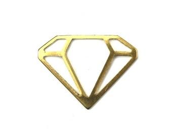Charms Raw Brass Stamping Geometric Diamond Pendant 22x17mm (6) CP152