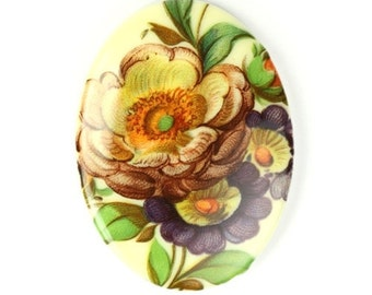 Vintage Floral Cabochon Plastic Decal Brown, Purple, Yellow 40x30mm (1) VIC293