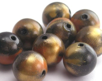 Vintage Lucite Black, Gold, and Rust 12mm Beads - Shiny Finish (12) VPB091