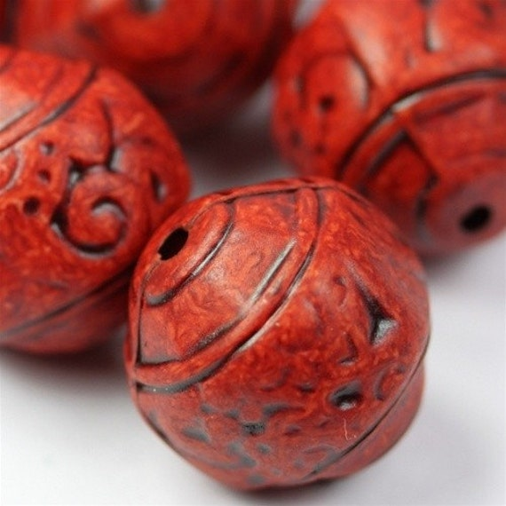 Vintage Bead 15mm Plastic Antiqued Etched - Red (6) VPB200