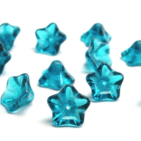 25 Czech Glass Trumpet Flower Beads - Teal CZP132