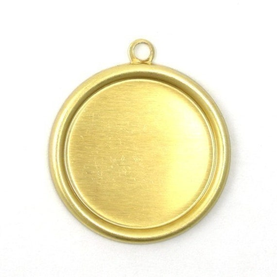 6 Rolled Edge Raw Brass Stampings - 18mm Round Setting - 1 Loop FI149