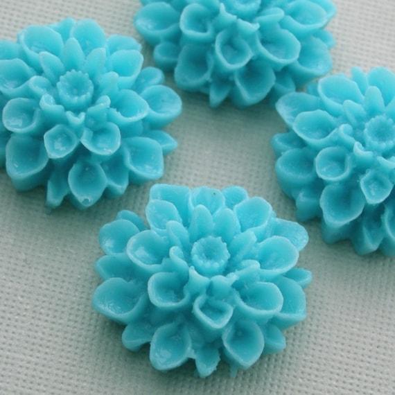 4 Dahlia Flower Plastic Cabochons - Turquoise - 18mm PC015