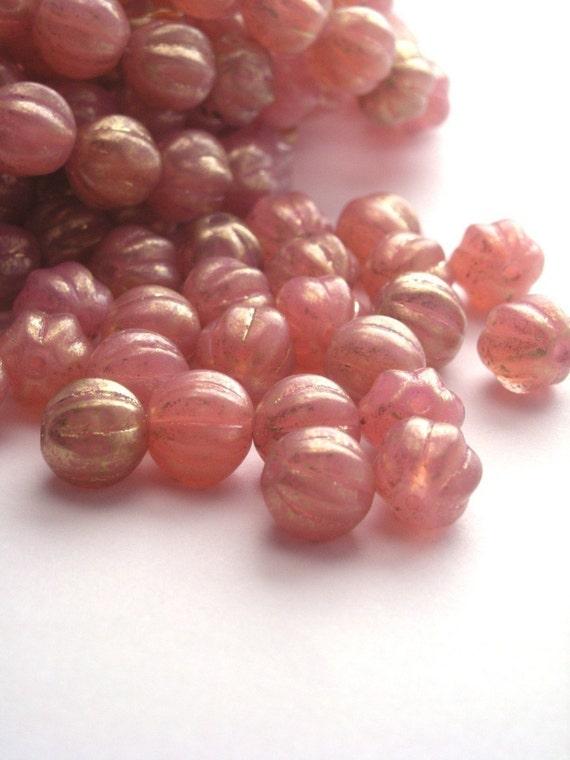 25 Czech Glass Melon Rounds - Milky Pink Marbled Gold 8mm CZP110