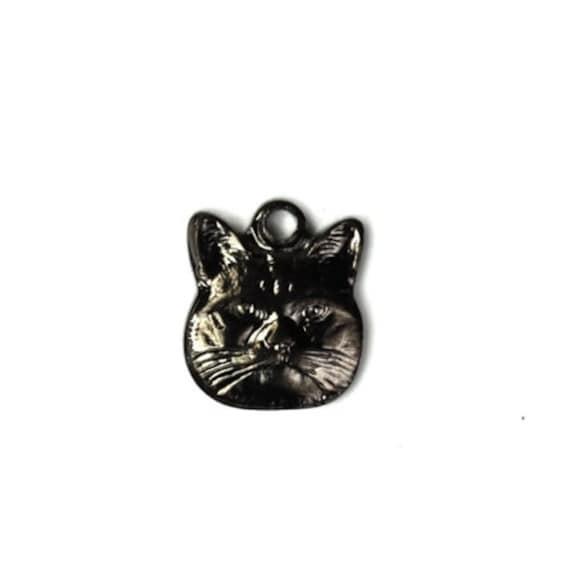 Tiny Cat Stampings Charms 9x8mm Gunmetal Kitten Pendant (6) CP099