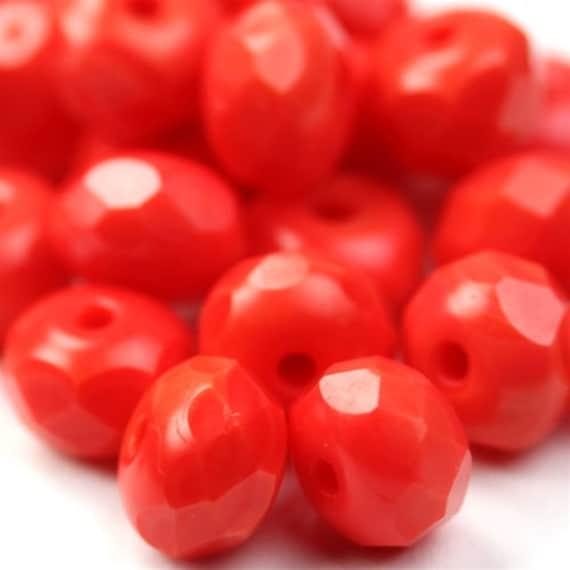 Czech Glass Beads Fire Polished Gemstone Donuts 4x6mm Opaque Coral (30) CZF306