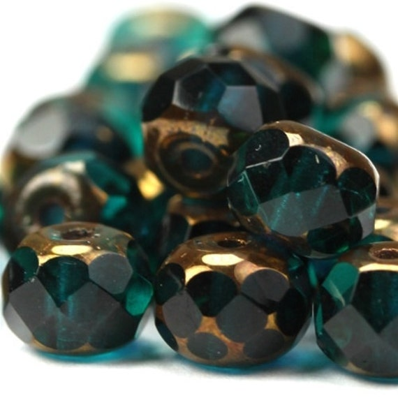 Czech Glass Beads Fire Polished Gemstone Donuts 4x6mm Copper Emerald (25) CZF349