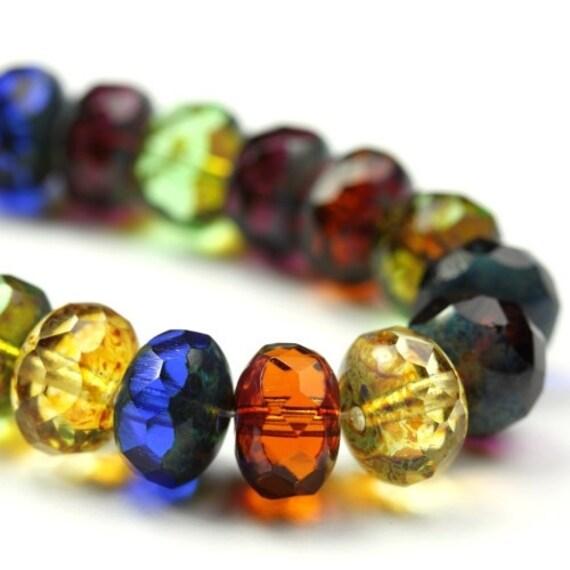 Czech Glass Beads Fire Polished Gemstone Donuts 11x7mm Dark Mix Picasso (25) CZF413