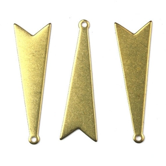 Charms Triangle Geometric Shape Raw Brass 32x10mm (6) CP134