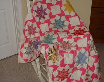Vintage Lemoyne Star Lap Quilt 60 x 48 inches (Rebirthed from 1930s Quilt Top)