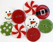 NEW- Chipboard Buttons and Embellishments (Set of 9) Holly Jolly Christmas