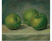 Three Green Apples on a Table