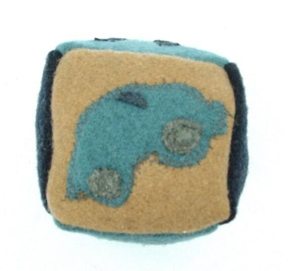 FELTED 100% Wool Baby Block VAROOM -  ready to ship - Ecofriendly