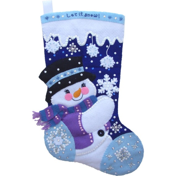 Let It Snow Snowman - Finished Handcrafted Bucilla Felt Christmas Stocking