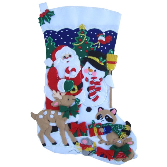 Finished Handcrafted Bucilla Felt Christmas Stocking - JUMBO 28 inch - Santa and Frosty