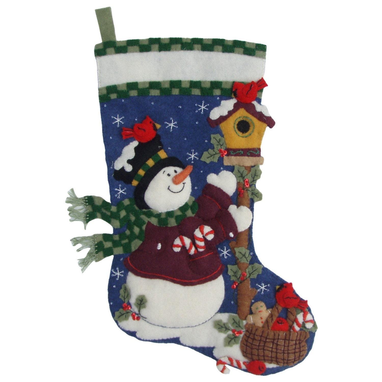 Finished Handcrafted Bucilla Felt Christmas Stocking Folksy