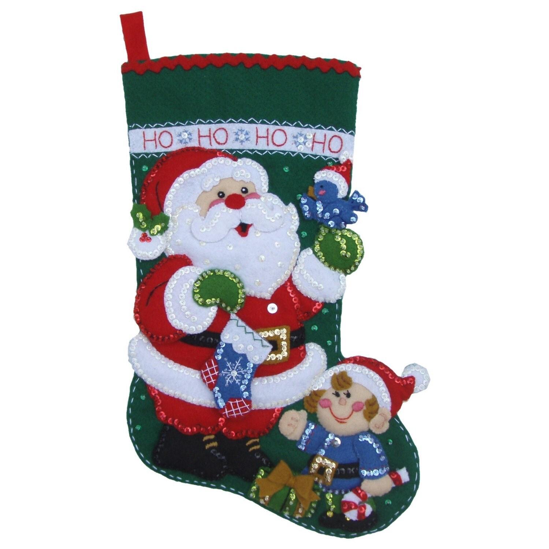 Finished Handcrafted Bucilla Felt Christmas Stocking Santa