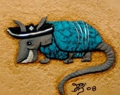 Antonio Armadillo with Turquoise shell handmade leather wall hanging
