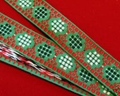 3 yards VINTAGE CUBIC CIRCLES Jacquard trim, red, black, white, on green. 1 1/4 inches wide. V05-a