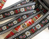 3 yards EDELWEISS & ENZIAN fabric Jacquard trim. White, red, light blue, brown, on black. 3/4 inch wide. 908(3)-A Bavarian dress trim