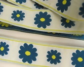 3  yards  SOLI-DAISY fabric Jacquard trim in blue, lemon yellow, on very pale celadon. 1 inch wide. 902-A