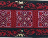 3 yards MALTESE Jacquard trim in wine red, rose, gold and black. 1 inch wide. 929-a