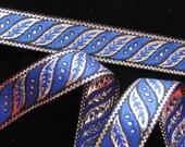 3 yards SLANTED LEAVES Jacquard trim in Royal blue, silver, on black. 1 inch wide. 187-L