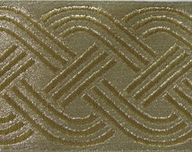 CELTIC RUNNING KNOT Brocade Jacquard trim in gold on gold. 2 1/4 inch wide. 730-a