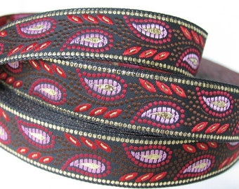 "2 yards 30"" GOLD WHEAT Jacquard trim in red, lavender, brown, gold on black. 3/4 inch wide. 492-A"